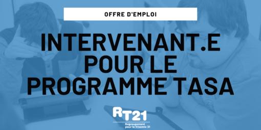 Offre d'emploi – Intervenant.e pour le Programme TASA